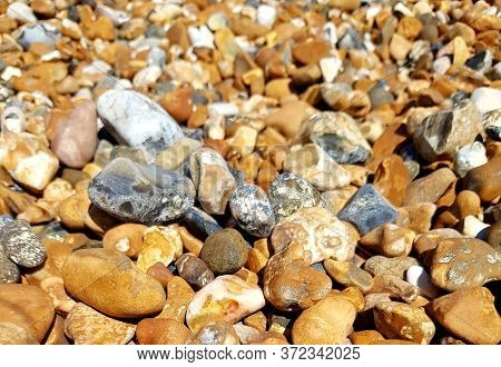 Abstract Nature Pebbles Background. Sea Pebbles Beach. Beautiful Nature.
