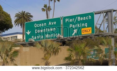 Street Signs To Santa Monica - Los Angeles, United States - March 29, 2019
