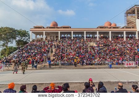Wagah, India - January 26, 2017: Spectators Watch The Military Ceremony At India-pakistan Border In