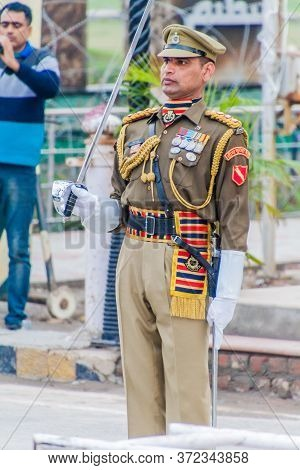 Wagah, India - January 26, 2017: Indian Border Guard At The Military Ceremony At India-pakistan Bord