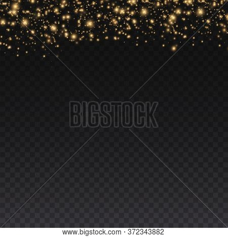 Yellow Dust. Beautiful Light Flashes. Dust Particles Fly In Space. Bokeh Effect. Horizontal Light Ra