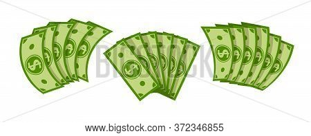Fan Banknote Dollar Flat Cartoon Set. Pile Of Dollars Cash, Green Banknotes, Green Paper Bills. Pay