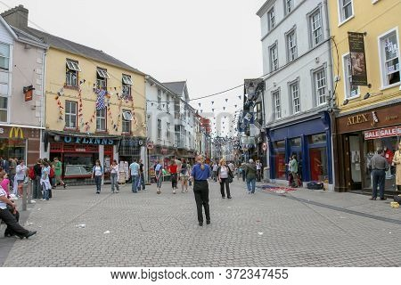 Dublin,ireland - July 30, 2019: People Walking On Dublin City Center Crowded Streets