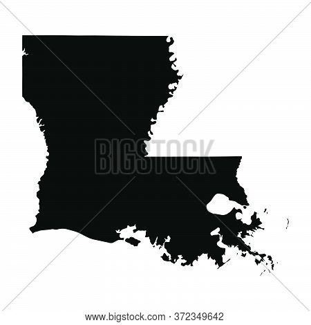 Louisiana La State Maps. Black Silhouette And Outline Isolated On A White Background. Eps Vector