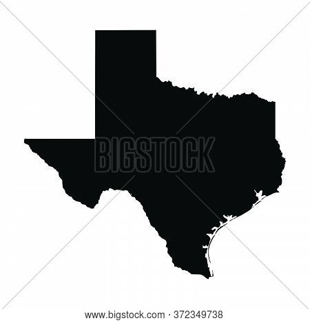 Texas Tx State Map Usa. Black Silhouette And Outline Isolated Maps On A White Background. Eps Vector