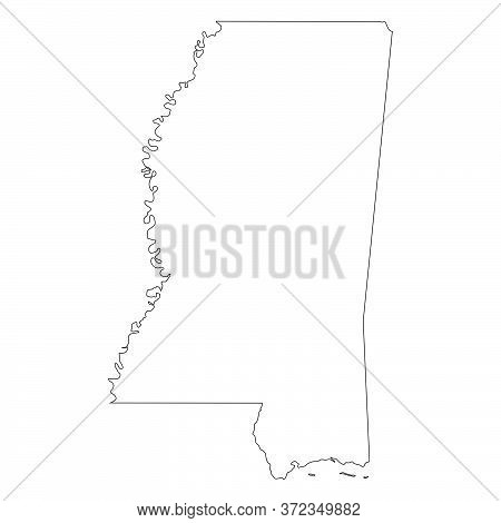 Mississippi Ms State Maps. Black Silhouette And Outline Isolated On A White Background. Eps Vector