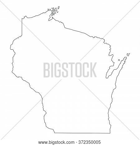 Wisconsin Wi State Map Usa. Black Silhouette And Outline Isolated Maps On A White Background. Eps Ve