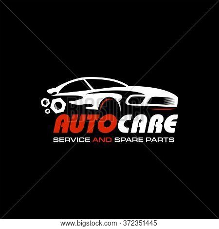 Modern Sport Car Logo Illustration With Red Color. Auto Service Vector Template. Sticker Or Print Ar