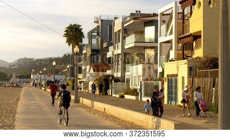 Colorful Houses At Santa Monica Ocean Front Walk - Los Angeles, United States Of America - March 29,