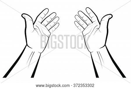 Hands Of A Believer During Prayer. Palms Up. Namaz, Eid Al-adha Muslim Holiday. Isolated Vector On W