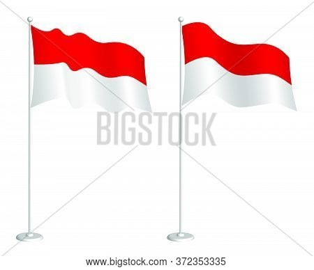 Flag Of Republic Of Indonesia On Flagpole Waving In The Wind. Holiday Design Element. Checkpoint For