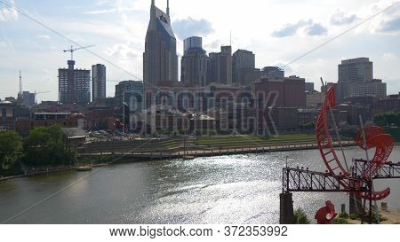 Skyline Of Nashville - View From Cumberland River - Nashville, Usa - June 17, 2019