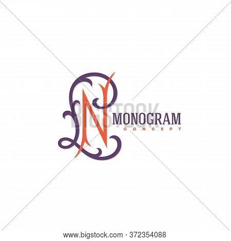 Vintage Monogram Letters L And N Design Template. Vector Illustration.
