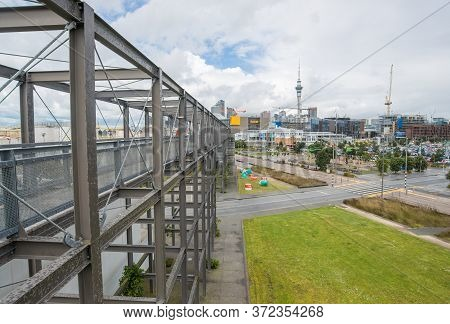 Auckland, New Zealand : 22 September 2017 : Auckland Cityscape View On The Metal Gantry In Silo Park