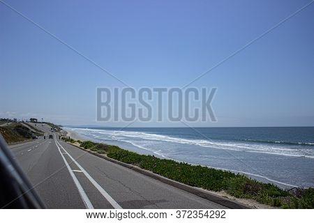 Road Along The Beach In Carlsbad, California