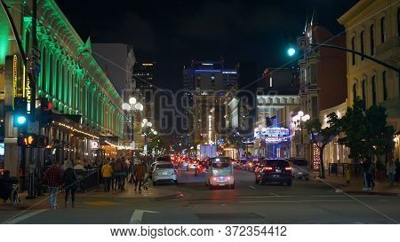 Street View At Gaslamp Quarter San Diego By Night - San Diego, Usa - March 18, 2019