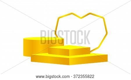 Luxury Pedestal Gold 3d And Heart Shape, Gold Pedestal Circle Box For Cosmetics Product Display Show