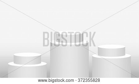 Pedestal Cylinder Circle 3 Steps For Cosmetics Showcase, Podium Circle Stage White Grey And Silver C