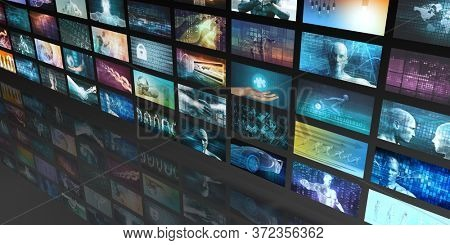 Television Production Technology Concept with Video Wall 3d Render