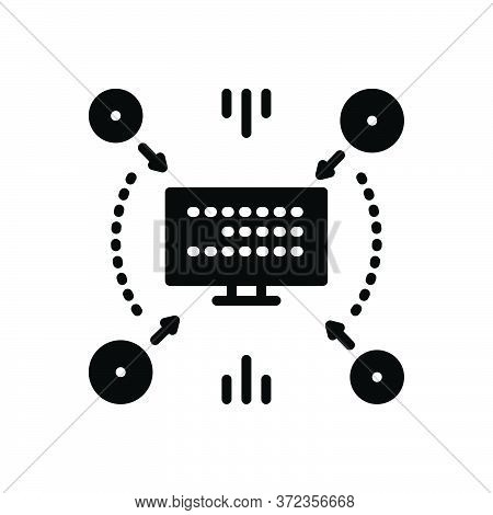 Black Solid Icon For Compiling Anthology Collection Monitor Technology