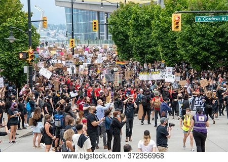 A Large Gathering Of Demonstrators Participating In The Freedom March.   Vancouver  Bc Canada    Jun