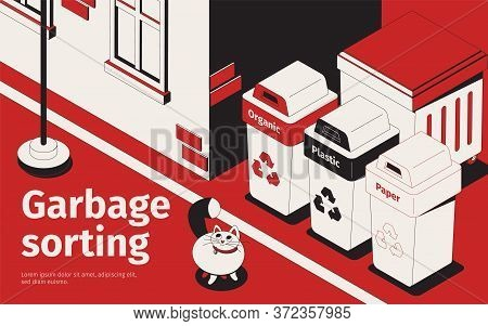 Proper Recycling Waste Sorting Garbage Bins For Paper Plastic Compost Outdoor Isometric Red White Bl