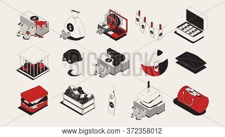 Dirty Money Gained Illegally Trough Bribery Theft Crime Blood Corruption Symbols Isometric Icons Set