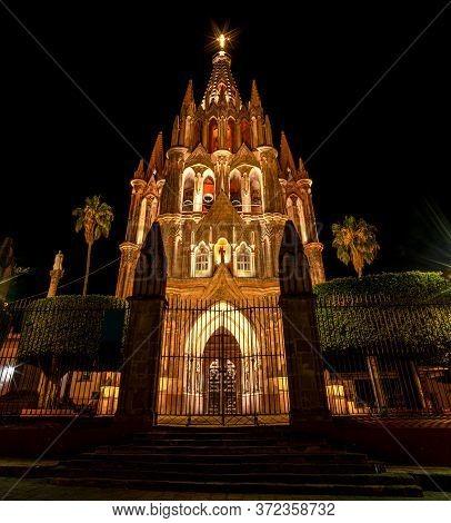The Parroquia De San Miguel De Arcangel At Night, In San Miguel De Allende, Guanajuato, Mexico