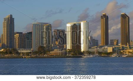 San Diego Downtown Skyscrapers At Sunset - San Diego, Usa - March 18, 2019
