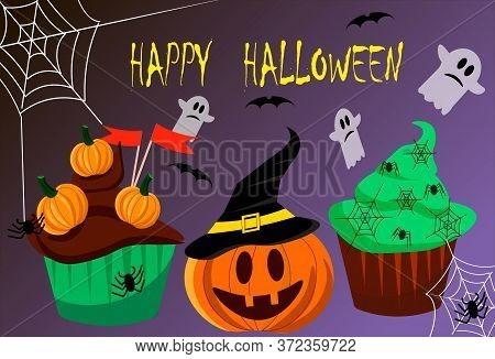 Halloween Cake. Pumpkin And Halloween Attributes. Happy Halloween Flyer Template. Vector Illustratio