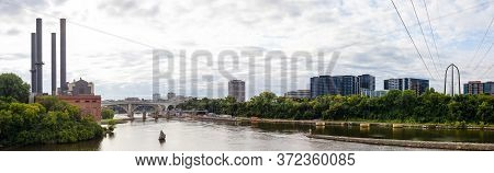 View Down Mississippi River With View Of The Steamplant, In Minneapolis, Minnesota, Usa
