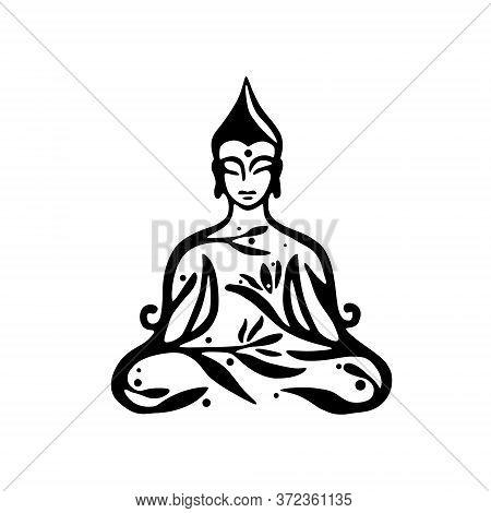 Buddha Decorative Drawing. Sitting Or Meditating Buddah Statue. Vector Illustration Of Budha Isolate