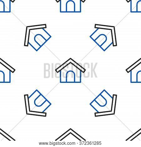 Line Dog House Icon Isolated Seamless Pattern On White Background. Dog Kennel. Colorful Outline Conc