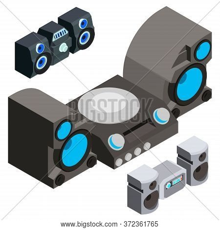 Stereo System Icons Set. Isometric Set Of Stereo System Vector Icons For Web Design Isolated On Whit