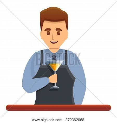 Happy Bartender Icon. Cartoon Of Happy Bartender Vector Icon For Web Design Isolated On White Backgr