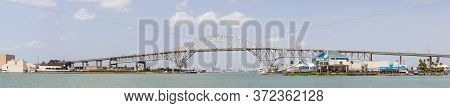 Panoramic View Of The Harbor Bridge In Corpus Christi, Texas, Usa