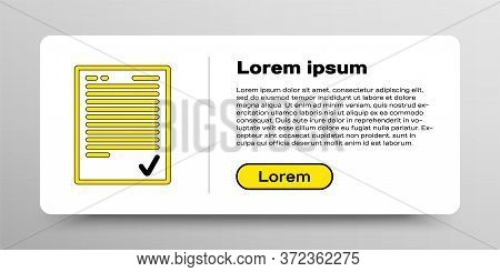 Line Exam Sheet With Check Mark Icon Isolated On White Background. Test Paper, Exam, Or Survey Conce