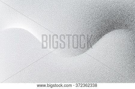 Abstract Vector Background, Monochrome Flow Shadow Wave With Stipple Effect For Design Brochure, Web