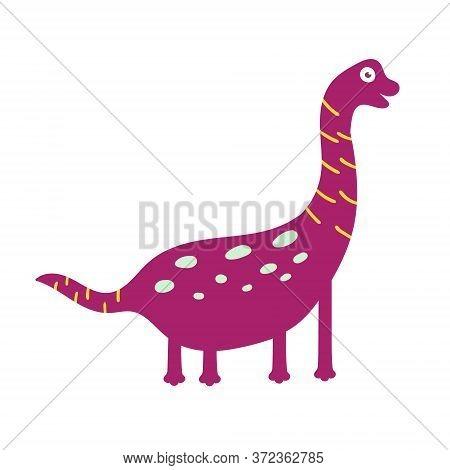 Cute Dinosaur Brachiosaurus. Dinosaur Vector Design Character