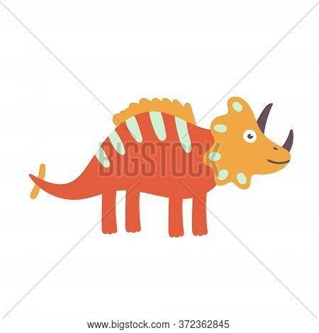 Cute Triceratops Dinosaur. Dinosaur Vector Design Character