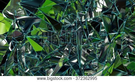 3d Abstract Emerald Green Crystal Background, Faceted Glass. 3d Rendering