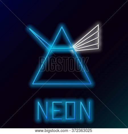 Glowing Neon Line Light Rays In Prism Icon Isolated On Black Background. Ray Rainbow Spectrum Disper