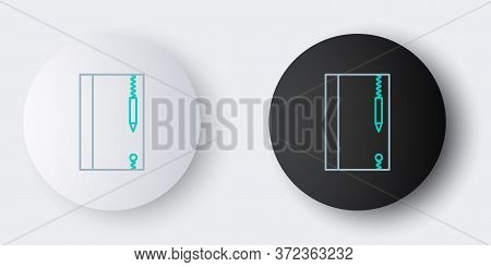Line Underwater Note Book And Pencil For Snorkeling Icon Isolated On Grey Background. Water Writing