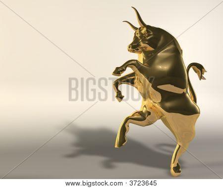 3d Illustration of rampant golden bull on neutral background poster