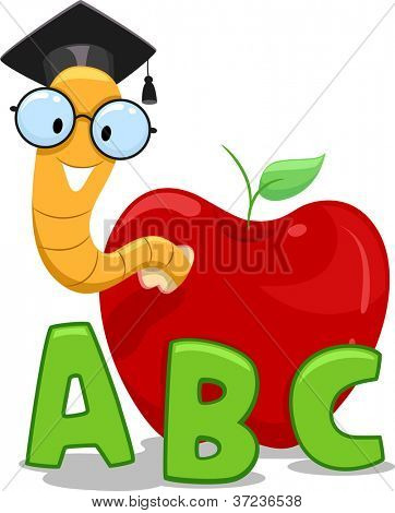 Illustration of a Nerdy Worm Wearing a Graduation Cap Crawling Out of an Apple