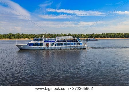 Tourist Ship Sailing On The Dnieper River In Kiev