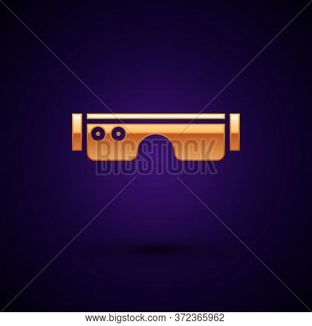 Gold Smart Glasses Mounted On Spectacles Icon Isolated On Black Background. Wearable Electronics Sma