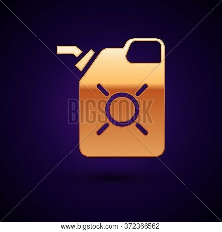 Gold Canister For Motor Machine Oil Icon Isolated On Black Background. Oil Gallon. Oil Change Servic