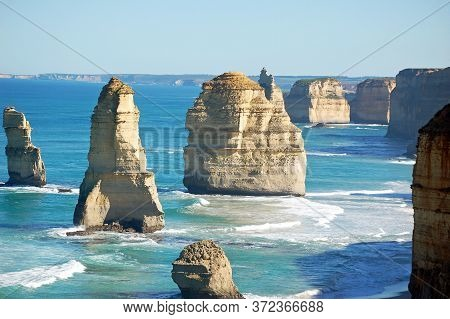 12 Apostles Rock Formations On Great Ocean Road Australia