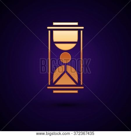 Gold Old Hourglass With Flowing Sand Icon Isolated On Black Background. Sand Clock Sign. Business An